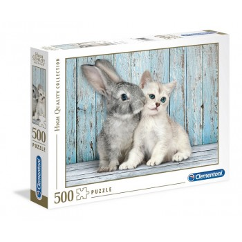 Clementoni – Puzzle 500 elementów – Kot i królik – 35004