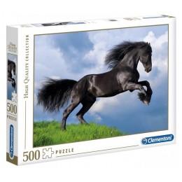 Clementoni – Puzzle 500 elementów – Czarny koń Fryzyjski – 35071