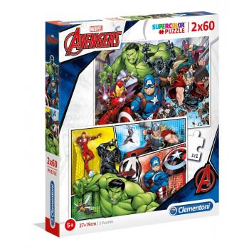 Clementoni - Puzzle Marvel Avengers 2x60 elementów - 21605