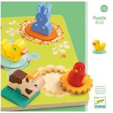 DJECO 01030 Drewniane puzzle z figurkami - Zwierzątka z farmy