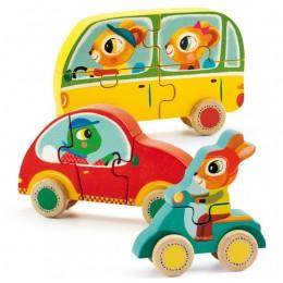 DJECO 01250 Drewniane puzzle samochody - Jako&Co