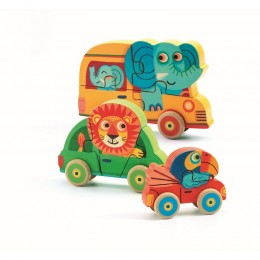 DJECO 01251 Drewniane puzzle samochody - Pachy&Co