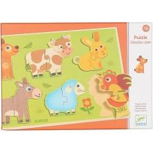 DJECO 01259 Puzzle Drewniane - Zwierzęta z łąki