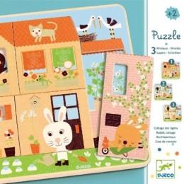DJECO 01480 Puzzle Drewniane warstwowe - Domek króliczków