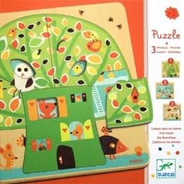 DJECO 01481 Puzzle Drewniane warstwowe - Drzewo