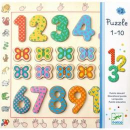 DJECO 01801 Drewniane Puzzle - Układanka Cyfry i Motyle