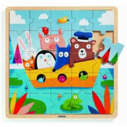 DJECO - Edukacyjne puzzle drewniane – Statek 01816
