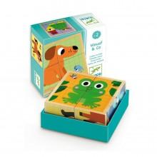 DJECO - Drewniane puzzle-klocki - Zwierzątka 01903