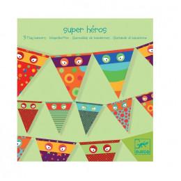 DJECO - Dekoracje urodzinowe - Papierowe Flagi Superbohaterowie - 04750