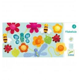 DJECO 06165 Nawlekanka drewniana - Kwiatki