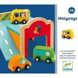 DJECO 06387 Drewniany Mini Garaż z autami