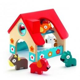 DJECO 06388 Drewniany domek ze zwierzętami