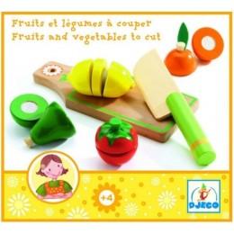 DJECO 06526 Drewniane warzywa i owoce do krojenia