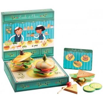 DJECO 06620 Jedzenie - Drewniany zestaw do robienia kanapek