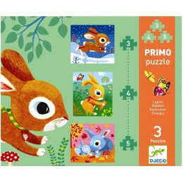 DJECO 07140 Pierwsze Puzzle -Króliki