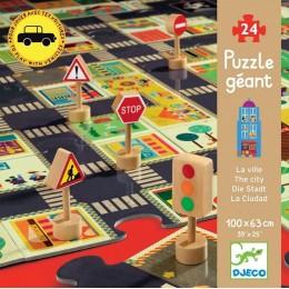 DJECO 07161 Puzzle Gigant - Ulice w mieście ze znakami