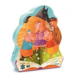 DJECO 07212 Puzzle w pudełku - Trzy małe świnki