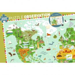 DJECO - Puzzle obserwacyjne 200 el. - Dookoła świata 07412