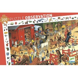 DJECO 07454 Puzzle Obserwacja - Wyścigi konne