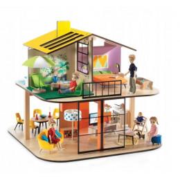 DJECO – Drewniany domek dla lalek - Kolorowy Dom 07803