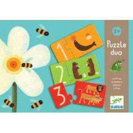 DJECO 08151 Puzzle Duo - Liczby i Zwierzątka