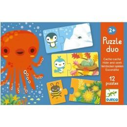 DJECO 08156 Puzzle Duo - Zabawa w chowanego