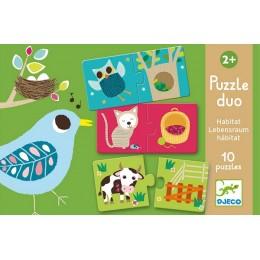 DJECO 08164 Puzzle Duo - Zwierzątka i ich dom