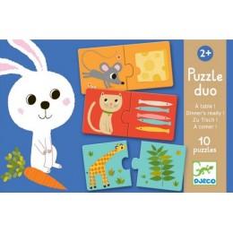 DJECO 08166 Puzzle Duo - Zwierzątka i ich obiad