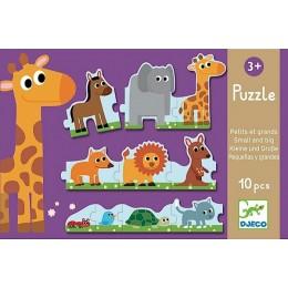 DJECO 08167 Puzzle tekturowe - Małe i duże zwierzątka