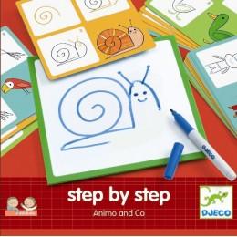 DJECO 08319 EDULUDO Rysowanie krok po kroku - Zwierzątka