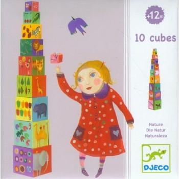 DJECO 08505 Klocki ze Zwierzętami i Cyframi - Piramidka