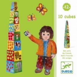 DJECO Piramidka - Klocki tekturowe - Zwierzęta i liczby 08506