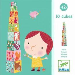 DJECO 08507 Piramidka - Klocki tekturowe - Zwierzątka w lesie