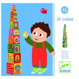 DJECO 08508 Piramidka - Klocki tekturowe - Pojazdy i Zwierzęta