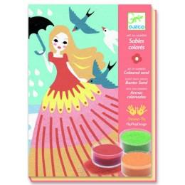 DJECO 08659 Zestaw artystyczny - Malowanie piaskiem - Dziewczynka