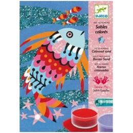 DJECO 08661 Zestaw artystyczny - Malowanie brokatem i piaskiem - Tęczowe Ryby