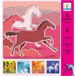 DJECO 08818 Szablony do odrysowywania - Konie