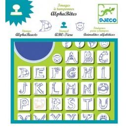 DJECO 08918 Zestaw stempelków z tuszem - Smoczy Alfabet