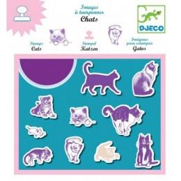 DJECO 08926 Zestaw stempelków z tuszem - Koty