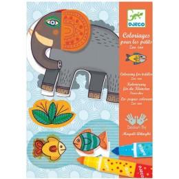 DJECO 08990 Zestaw artystyczny Kolorowanka z flamastrami - Zwierzęta