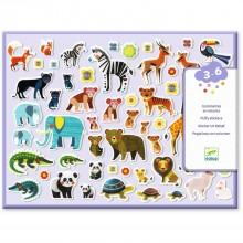 DJECO - Zestaw naklejek wypukłych - Zwierzęta 09081