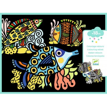 DJECO - Welurowa kolorowanka - Piękne rybki 09098