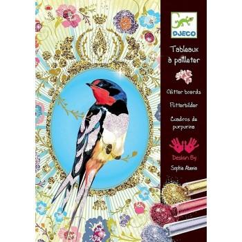DJECO 09501 Zestaw artystyczny z brokatem - Ptaki