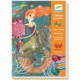 DJECO 09507 Zestaw artystyczny - Malowanie brokatem - Syreny