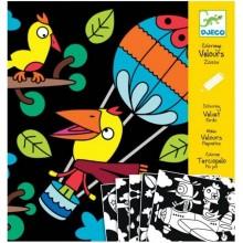 DJECO 09621 Welwetowe kolorowanki - Ptaki