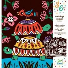 DJECO 09624 Welwetowa kolorowanka - Zwierzęta