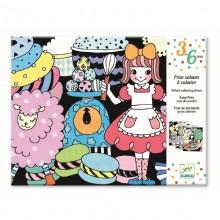 DJECO 09625 Welwetowa kolorowanka - Parada słodkości