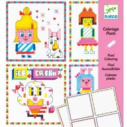 DJECO 09643 Kolorowanka pixele - HIPSTER GIRLS