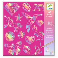 DJECO - Naklejki - Zdrapywanki holograficzne - Diament 09736