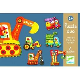 DJECO 08170 Puzzle Duo - Pojazdy budowlane